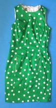 Anne Klein Green Polka Dot Pencil Dress Size 6 Zippered Pockets Fitted Classy image 1