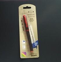 Parker Beta Standard Black with Red Trim Rollerball Pen, Blue Ink, Fine ... - $6.04