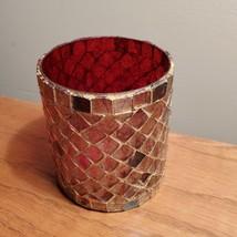 Votive Candle Holder, Red Gold Glass candleholder, plant pot, succulent planter