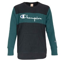 Champion Sweatshirt Man Blue Crew-neck Logo Vintage Oversize Fit - $116.49