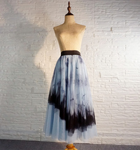 Dusty Blue Long Tulle Skirt Butterfly Dye Tulle Skirt Plus Size Party Outfit image 6