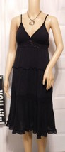 Elan Black Crochet Embroidered Tiered Beach Sun DRESS Size: S