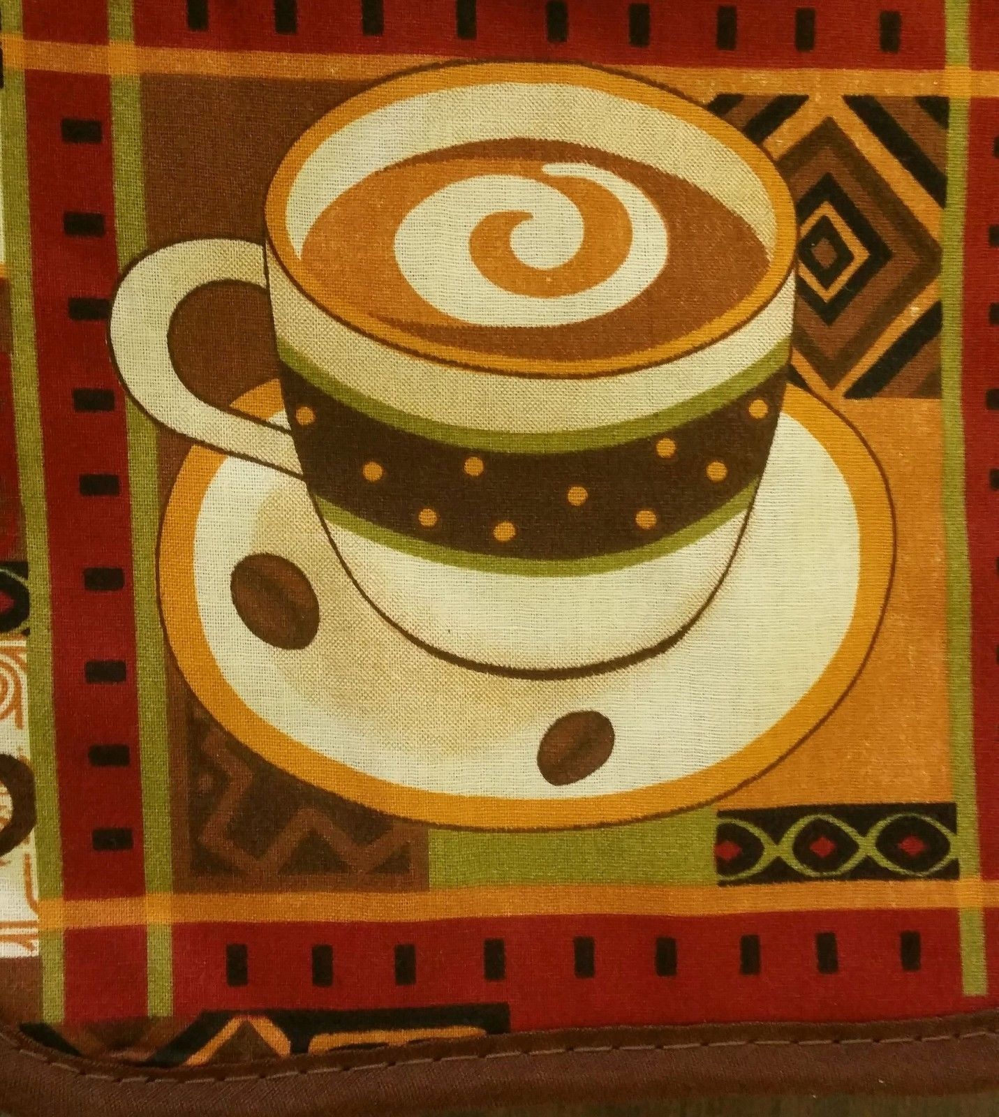 "2 Printed Kitchen Pot Holders (7"" x 7"") 100% Cotton, COFFEE CUP, brown back"
