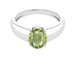 1.80 Ct Peridot Gemstone 925 Sterling Silver Solitaire Ring RI1135 - $22.46