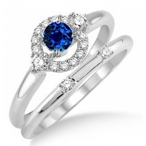 1.25 Carat Sapphire & Sim Diamond Elegant Halo Bridal Set on 14K White Gold Fn  - $85.00