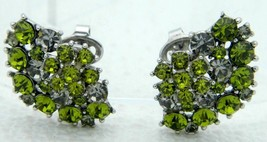 VTG CROWN TRIFARI Silver Tone Green Peridot Gray Rhinestone Flower Clip ... - $74.25