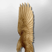 Handmade Bone Carved Full Landing Eagle Full Body No Paint Feather Detailed with image 2