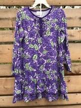Girls Hanna Anderson Size 130 cm 8 US Purple Roses Dress Tunic Top L/S R... - $24.48