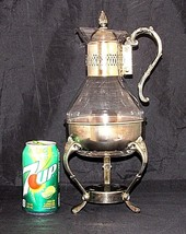 Vintage Glass Coffee Carafe Pot Warmer Stand Mid Century Candle Silver P... - $29.69