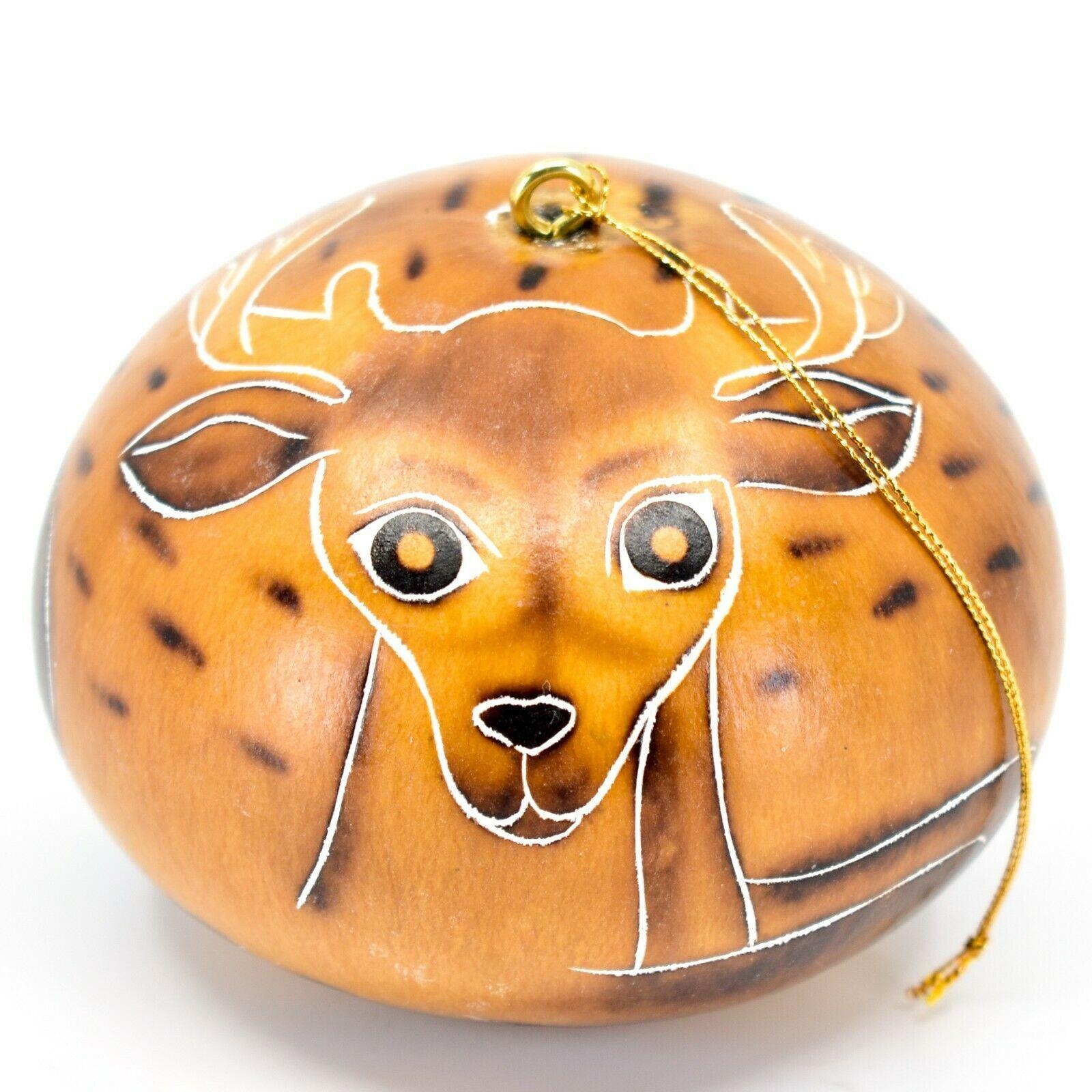 Handcrafted Carved Gourd Art Deer Buck Animal Ornament Made in Peru