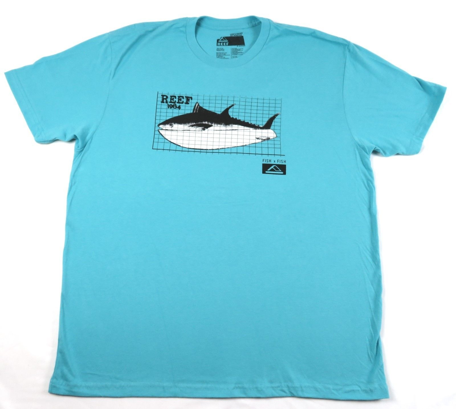 Men's REEF Tee Shirt Surfing Beach Casual Fish T-shirt Aqua 1984