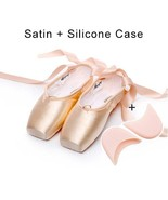 Women Girls Canvas Satin Pointe Shoes With Ribbon And Gel Toe Pad Female... - $50.93