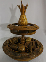 Vintage Hand Carved Monkey Pod Centerpiece wooden Turntable Lazy Susan F... - $99.95