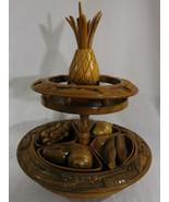 Vintage Hand Carved Monkey Pod Centerpiece wooden Turntable Lazy Susan F... - $99.95