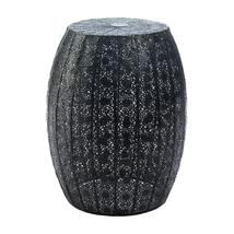 *18467B  Black Decorative Moroccan Lace Pattern Table Foot Stool - $36.95