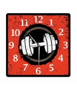 Retro Fitness Dumbbell Wall Clock Vintage Acrylic Printed Body Building ... - $40.79+