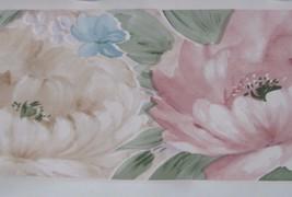 Wallpaper Border Soft Pink Beige Blue Flowers Floral Green Cottage Chic EH99715 - $13.85