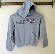 Jerzees Boys M 10-12 Gray Fleece Pullover hooded sweatshirt Marines Spell-out - $15.83