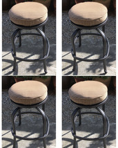 Patio Swivel Bar Stool Short With Cushion set of 4 Outdoor cast aluminum seats image 1