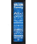 """Personalized Oklahoma City Thunder """"Family Cheer"""" 24 x 8 Framed Print - $39.95"""