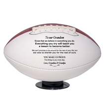 Custom Regulation Football To Our Grandson Graduation, Birthday, Christmas Gift - $59.95