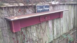 Reclaimed Wood SHELF Distressed Barn Red & Dark Walnut Stained Shelving ... - $69.95
