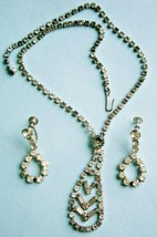 Rhinestone Necklace and Earrings, vintage - $14.25