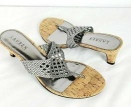 """Lauren Ralph Lauren Flip Flop Heels 8.5B Silver Cork """"Nalena"""" - $39.59"""