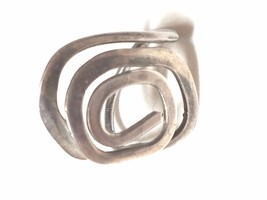 Abstract Silver Tone Vintage Ring Hand Made Hand Hammered - $23.09