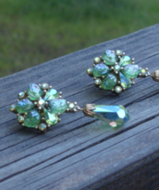 Vintage Crown Trifari Earrings, Etoile Collection, AB Rhinestones, Green... - $385.00