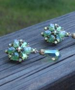 Vintage Crown Trifari Earrings, Etoile Collection, AB Rhinestones, Green... - $385.00