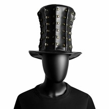 Black Leather Women Hat Vintage Ladies Top Rivets Steampunk Men Gothic C... - £33.21 GBP