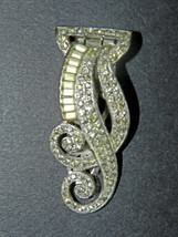 Antique Old Mark 'ktf Trifari' PAVÉ-SET Clear Rhinestones Swirl Bar CLIP/BROOCH - $93.00