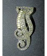 ANTIQUE OLD MARK 'KTF TRIFARI' PAVÉ-SET CLEAR RHINESTONES SWIRL BAR CLIP... - £74.67 GBP