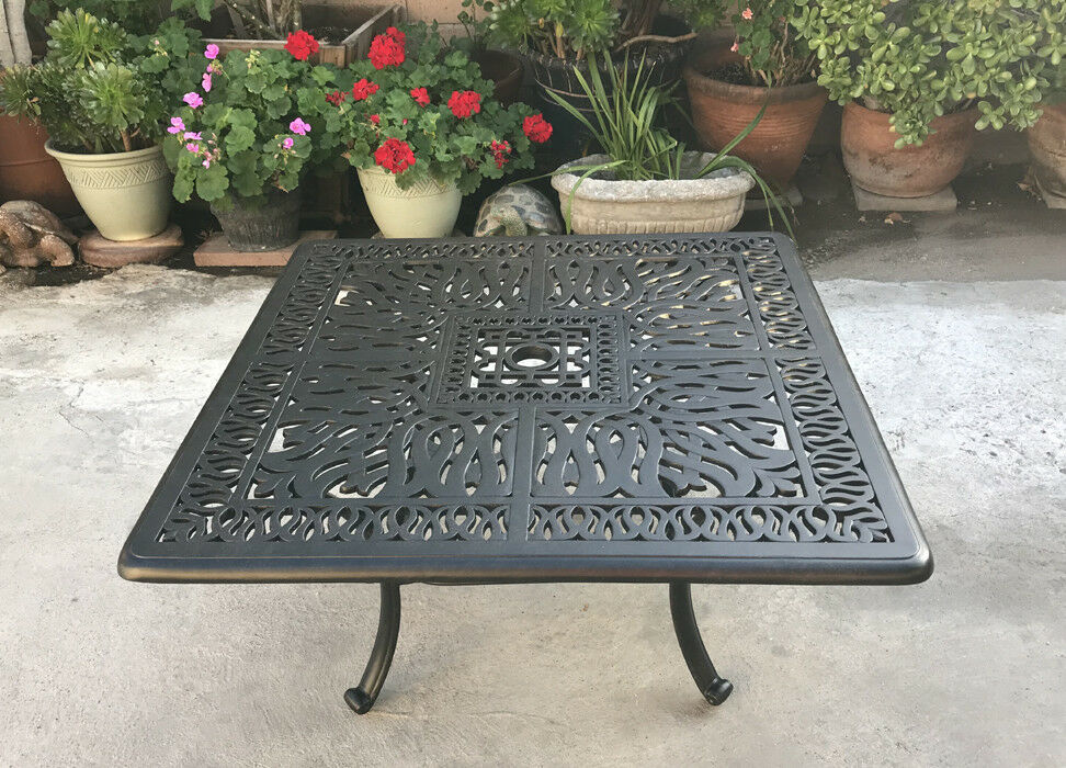 "Patio coffee table square 36"" Elisabeth cast aluminum outdoor furniture Bronze"