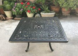 "Patio coffee table square 36"" Elisabeth cast aluminum outdoor furniture Bronze image 1"