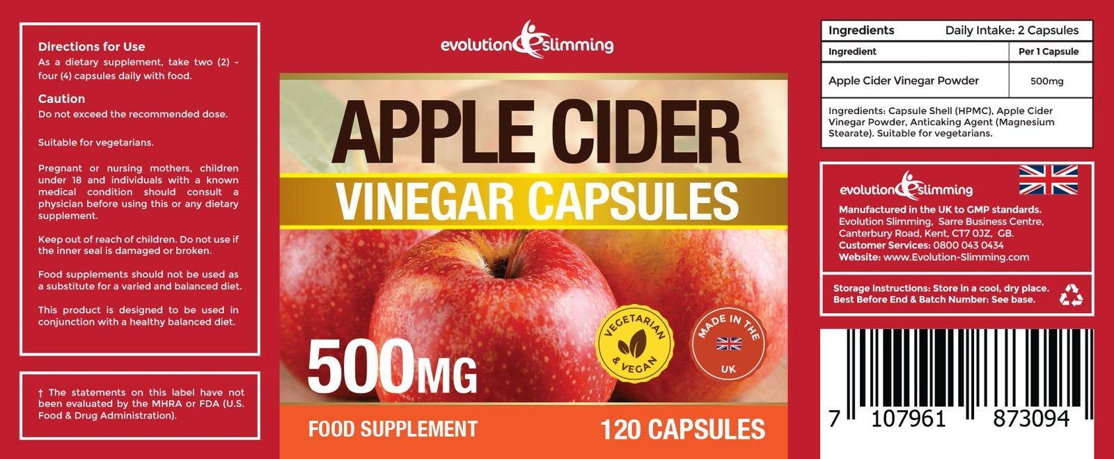 Apple Cider Vinegar 500mg Capsules 360 Capsules - Weight ...