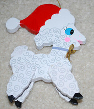 "Vintage Kurt Adler Wood Santa Lamb Sheep Christmas Ornament Decoration 5""  - $14.80"