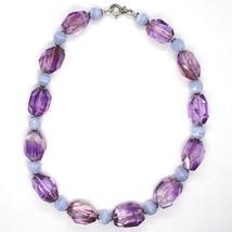 Collar Plata 925 , Fluorita Ovalados Facetada Violeta, Esferas Calcedonia image 2
