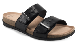 Womens Earth Orra Slide Sandals - Black Leather [7207712WLEA-BLK] - $69.99