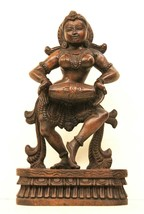 Lady Drum playing Statue Hand Carved Wooden  Home Decor Art Vintage US243WH - $332.50