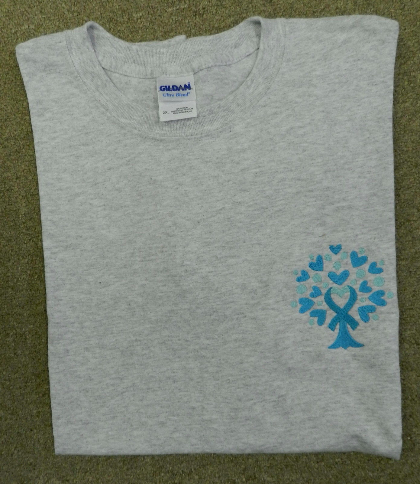 Ovarian Cancer Awareness 2XL Teal Ribbon Tree of Life Heart Gray S/S T Shirt New