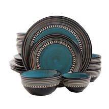 Gibson Elite Café Versailles 16 Piece Double Bowl Dinnerware Set - Blue - $80.20