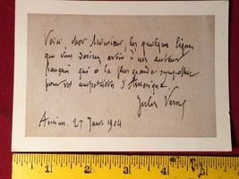 Jules Verne facsimile card that was sent to a fan. - $19.60