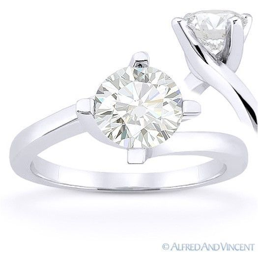 Primary image for Round Cut Forever Brilliant Moissanite 14k White Gold Solitaire Engagement Ring