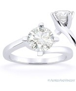 Round Cut Forever Brilliant Moissanite 14k White Gold Solitaire Engageme... - €375,32 EUR+