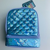 Mermaid Scales Dual Compartment Lunch Bag / Box Insulated Teal Purple - $15.83