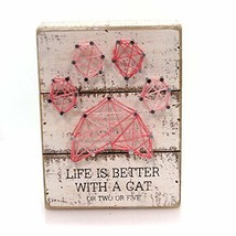 Pet String Art Box Sign Life is Better with a Cat or 2 or 5 Primitives by Kathy - $8.86