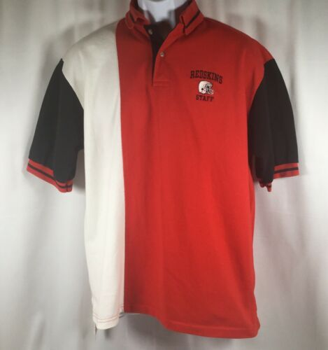 Primary image for Vintage 90s Redskins Football Staff SS Polo Rugby Shirt Red Multi Mens XL USA