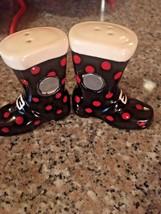 SALT & PEPPER SHAKERS New Winter Santa Boots magnetic CUTE Stocking Stuf... - $12.86